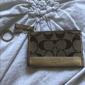 Coach gold canvas+ leather coin/card holder